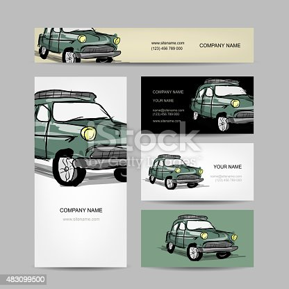 Ilustrao de business cards design retr car e mais banco de ilustrao de business cards design retr car e mais banco de imagens de 2015 483099500 istock reheart Image collections