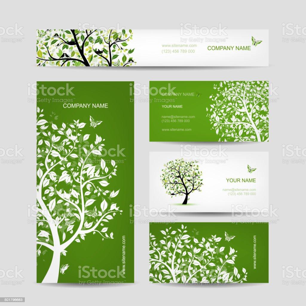 Cartes De Visite Design Printemps Arbre Avec Des Oiseaux Stock Vecteur Libres Droits Libre