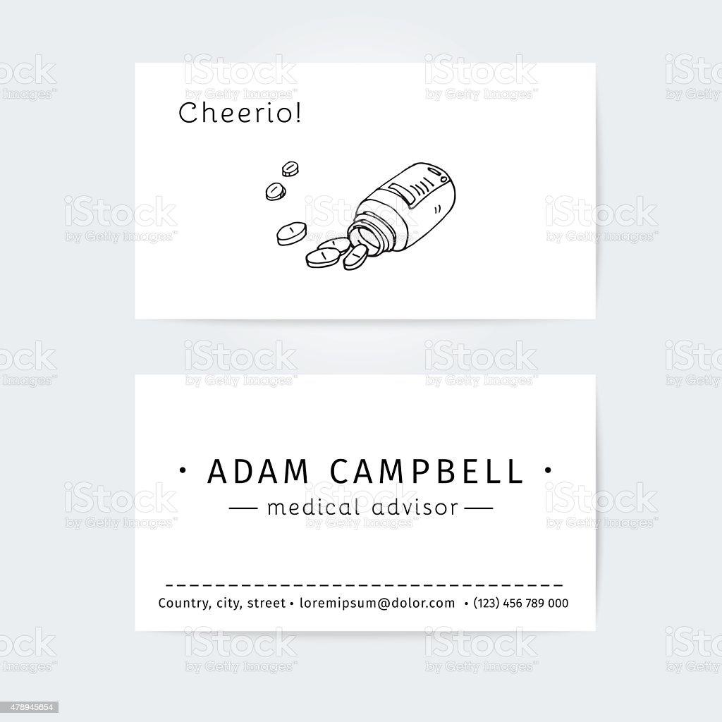 Business Cards Design Template For Medical Advisor Or Pharmacist ...