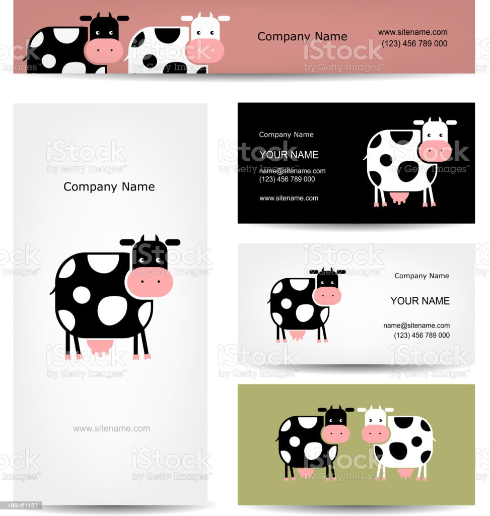 Business Cards Design With Funny Cow stock vector art 488461132 ...