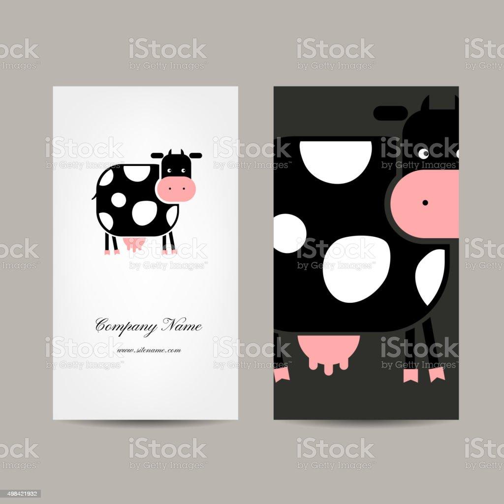 Visitenkartendesign Lustige Kuh Stock Vektor Art Und Mehr