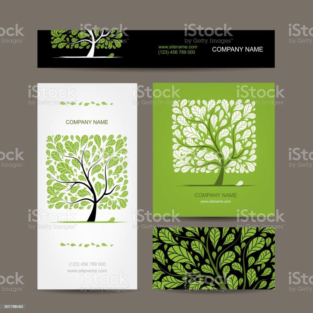 Cartes De Visite Design Avec Amour Arbre Stock Vecteur Libres Droits Libre