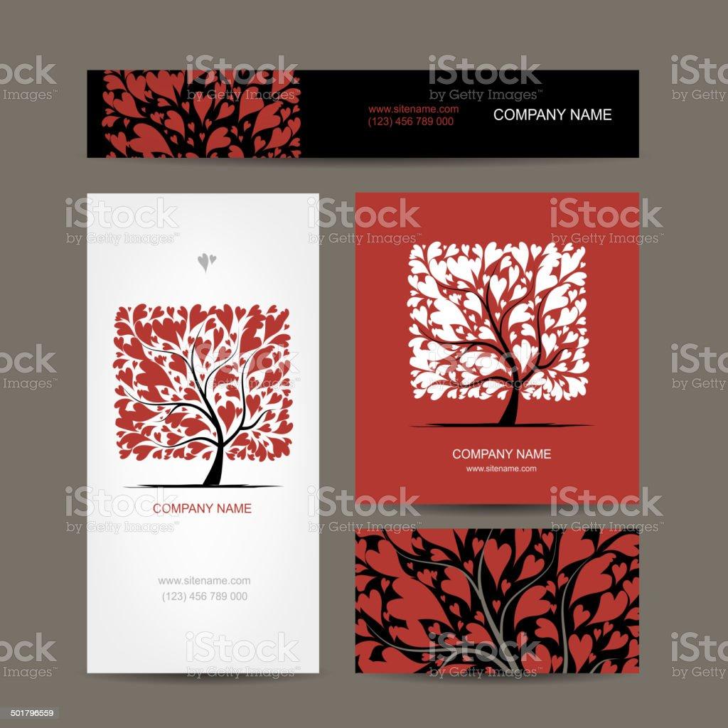 Cartes De Visite Design Avec Amour Arbre Vecteurs