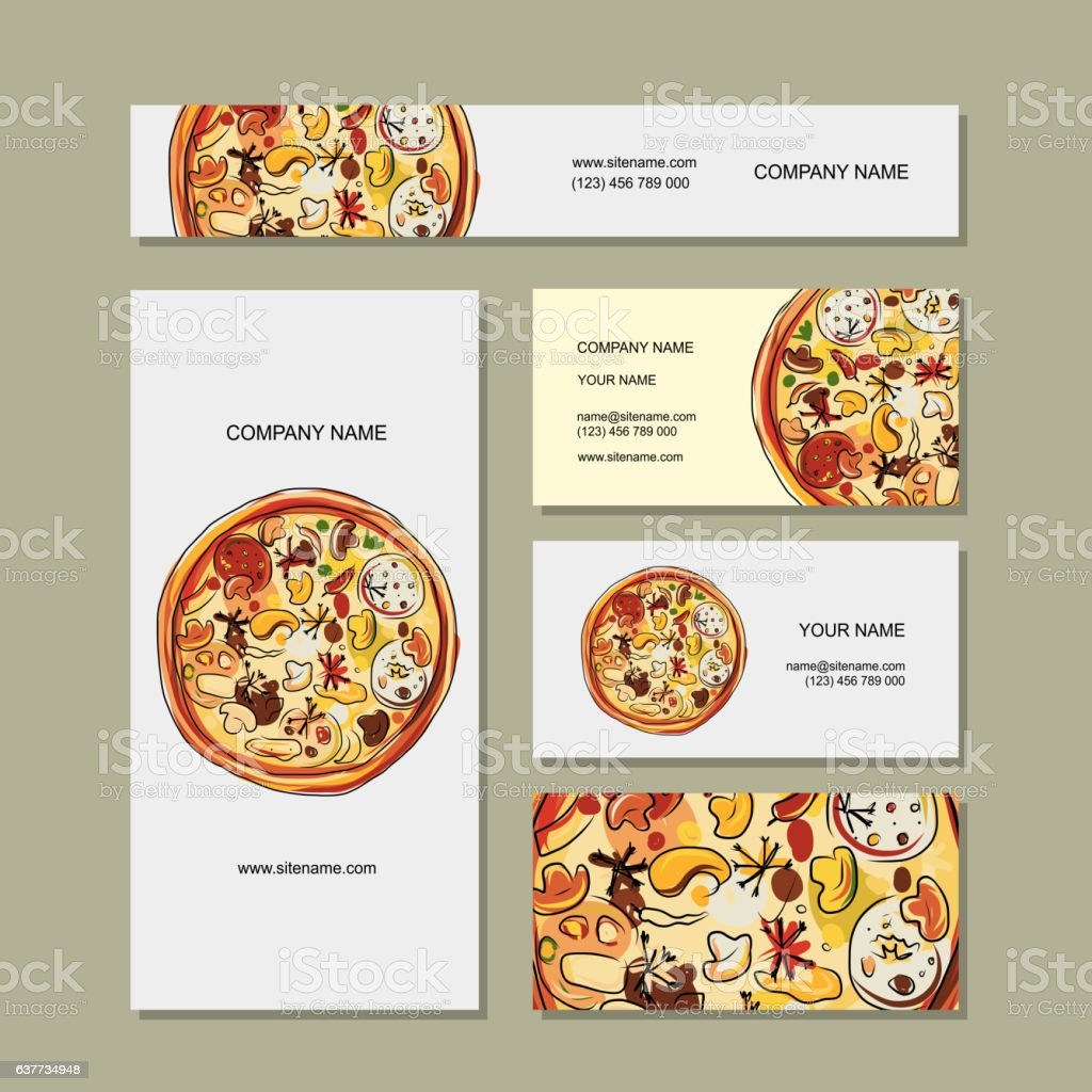 Business Cards Design With Pizza Sketch Stock Vector Art & More ...