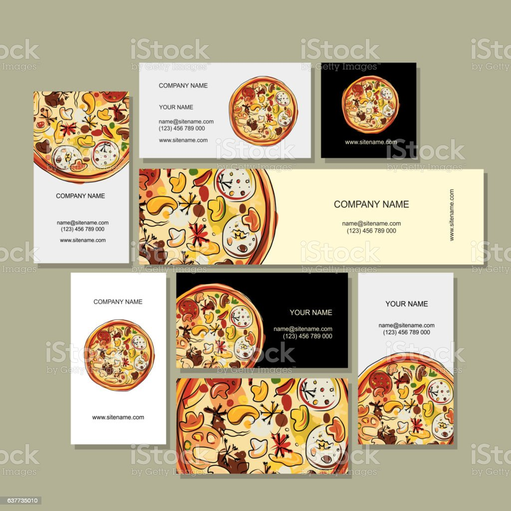 Business Cards Design With Pizza Sketch stock vector art 637735010 ...