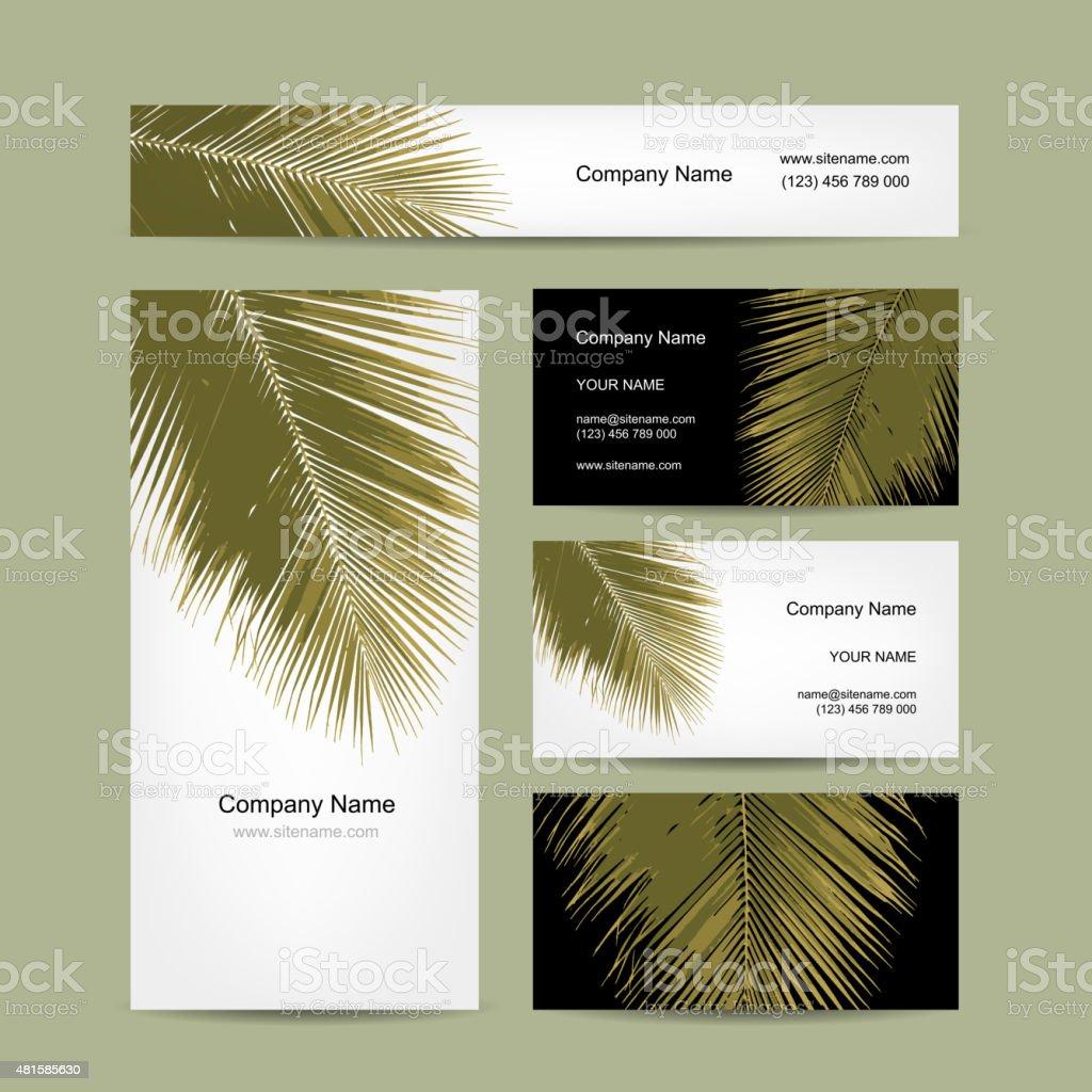 Cartes De Visite Avec Un Motif Feuilles Palmier Tropical
