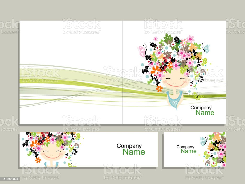 Business Cards Floral Girl For Your Design Stock Vector Art & More ...