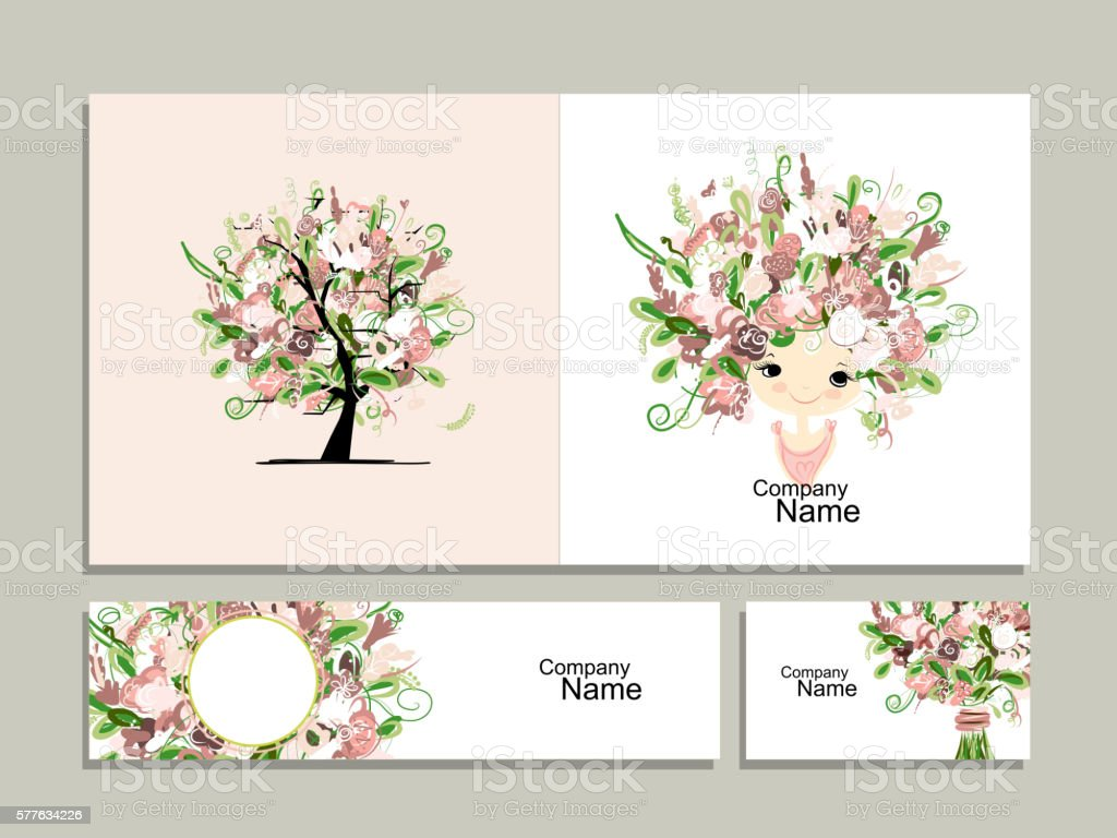 Business cards floral girl for your design stock vector art business cards floral girl for your design royalty free stock vector art magicingreecefo Image collections