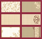 Business cards templates set of six with rose floral patterns and fabric texture, horizontal. Just add text and logo.Can be used also as invitations, gift tags, placement cards, or mini greeting cards.