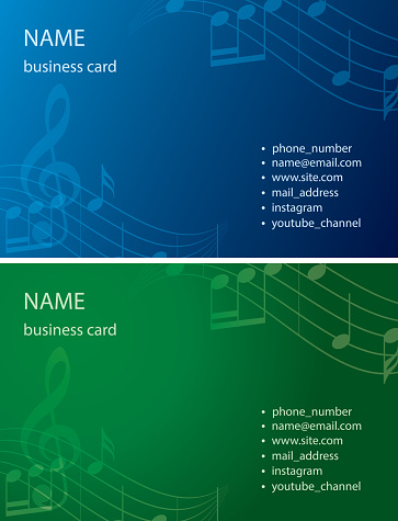 business cards in blue and green colors -  vector backgrounds with music notes