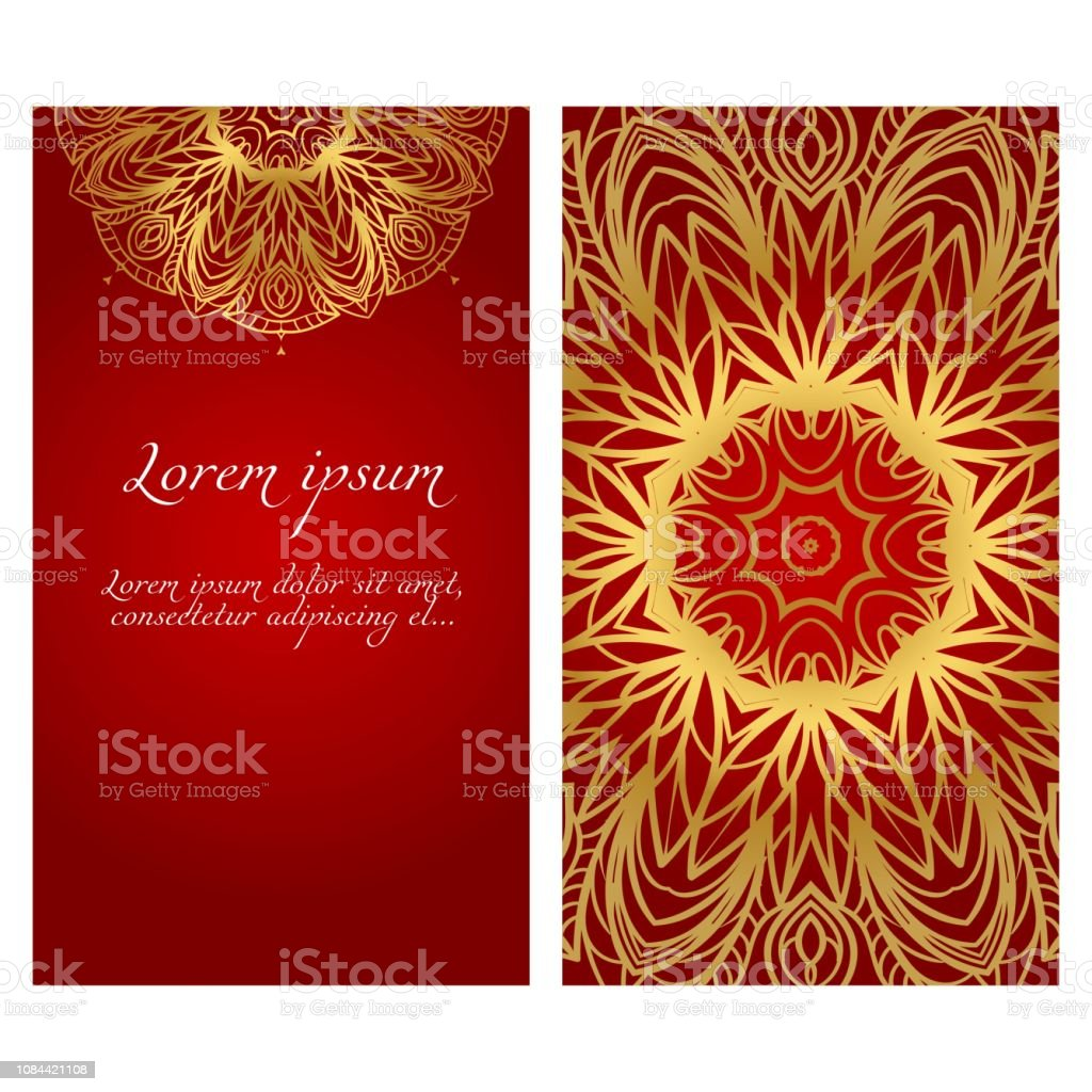 Visitenkarten Einladungen Oder Flyaer Blumen Mandala Muster