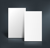 Stack of two white pages. Booklet, business card, postcard or flyer mockup template. Vector illustration.
