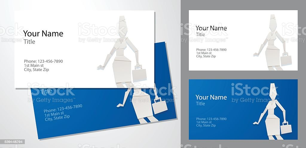 Business Cards Origami Woman With A Briefcase Stock Vector Art
