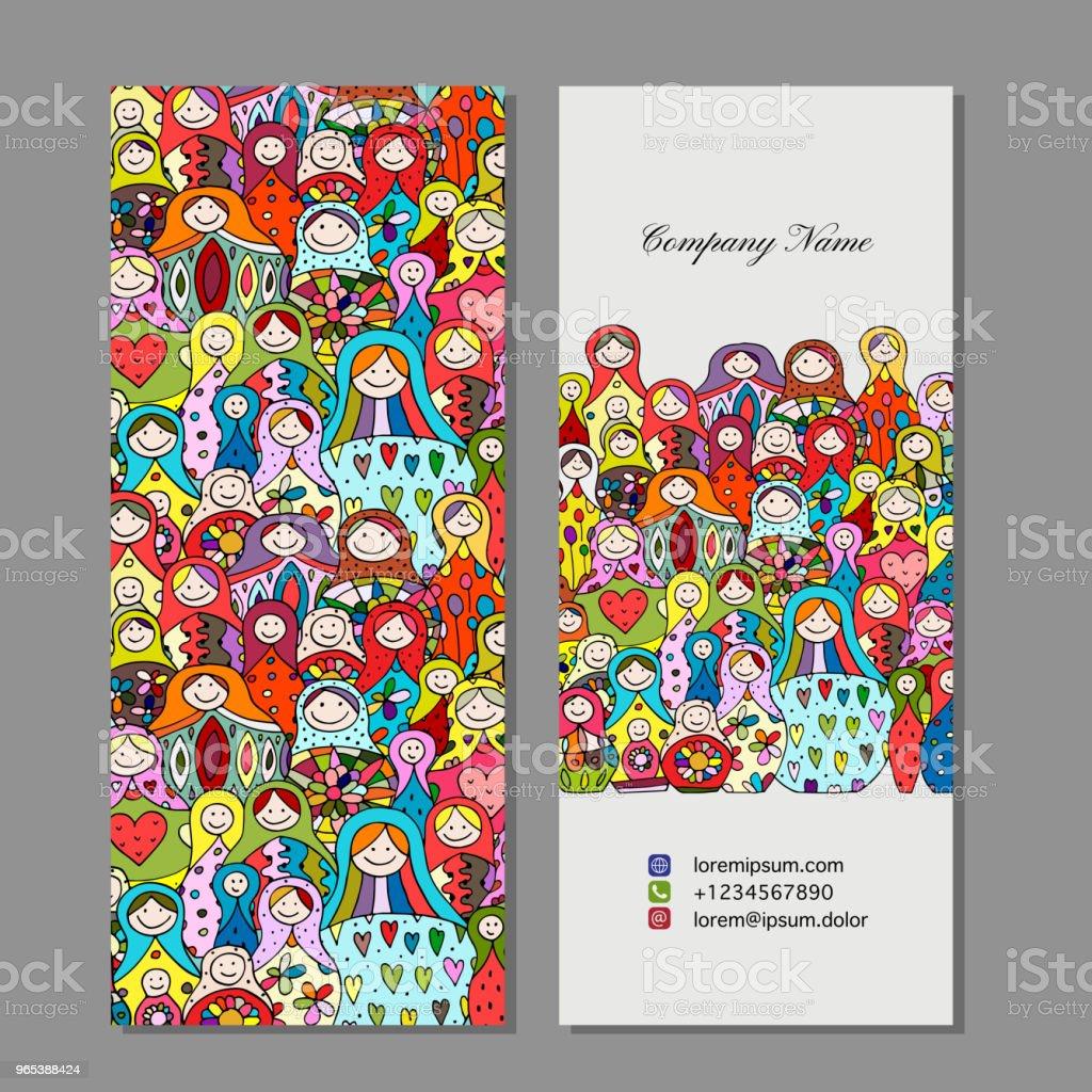 Business cards set, Matryoshka, russian nesting dolls design business cards set matryoshka russian nesting dolls design - stockowe grafiki wektorowe i więcej obrazów afganistan royalty-free