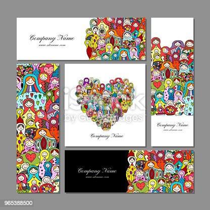 Business Cards Set Matryoshka Russian Nesting Dolls Design - Stockowe grafiki wektorowe i więcej obrazów Afganistan 965388500