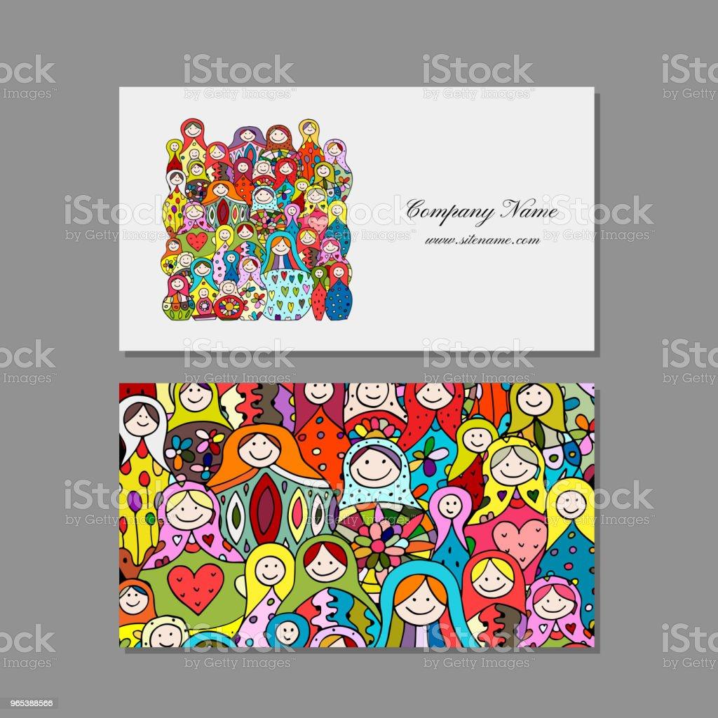 Cartes de visite scénographie, matriochka, russe nidification poupées - clipart vectoriel de Affaires libre de droits