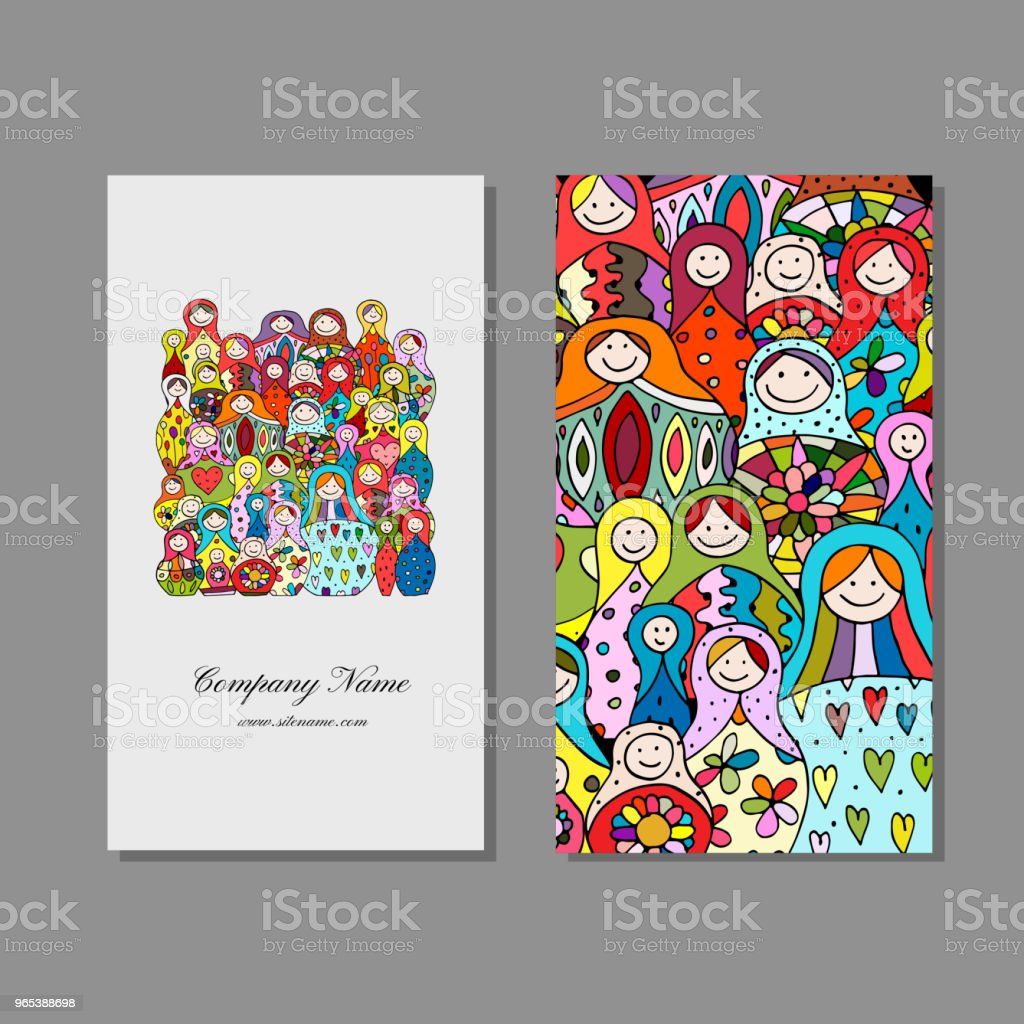 Business cards set, Matryoshka, russian nesting dolls design royalty-free business cards set matryoshka russian nesting dolls design stock illustration - download image now