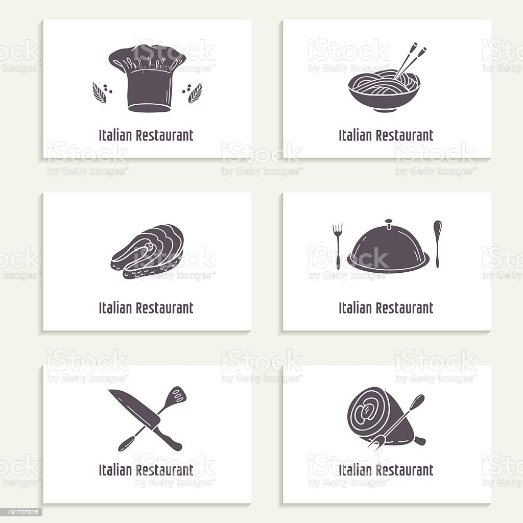 Business Cards Set With Outline Style Food Silhouette Stock
