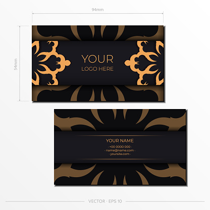 Business cards template. Decorative floral business cards, oriental pattern, illustration.