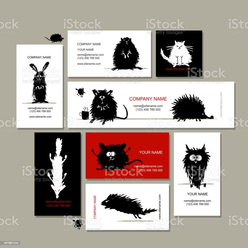Cartes De Visite Avec Des Animaux Noir Croquis Pour Votre Design