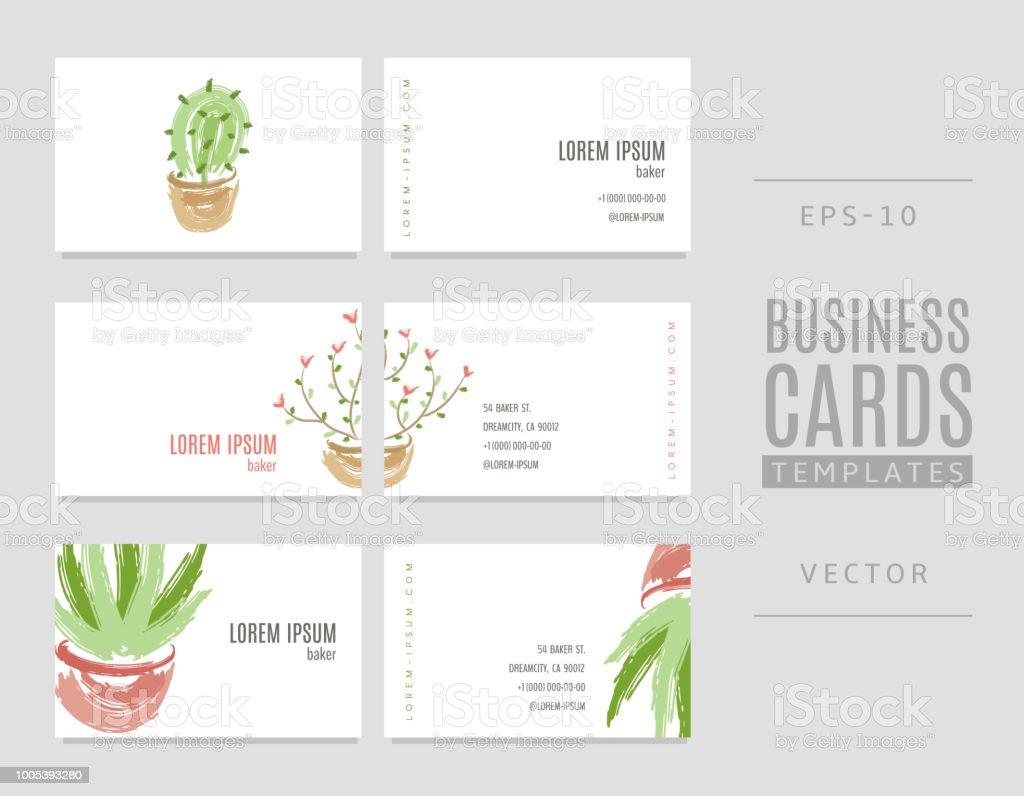 Cartes De Visite Avec Cactus Fleurs Et Aloe Vera