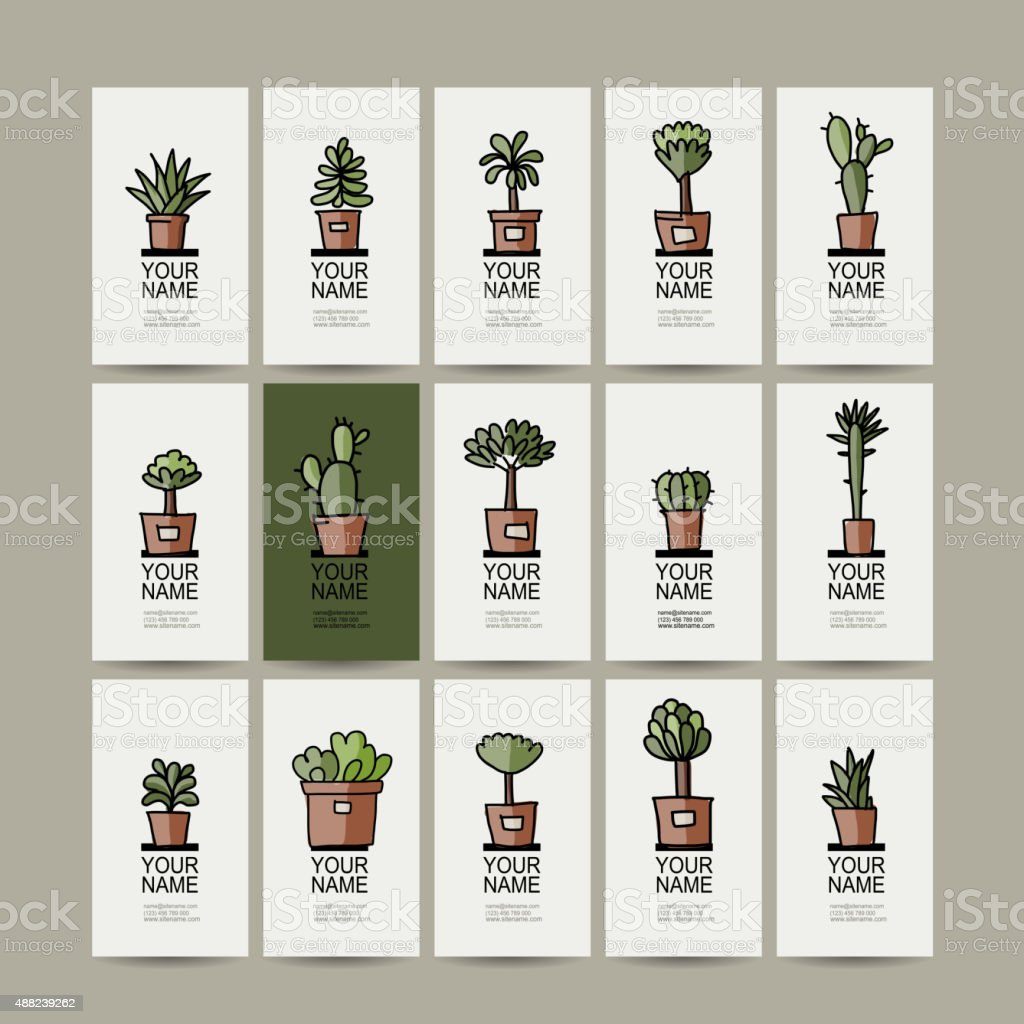 Business Cards With Cactus In Pots, Sketch For Your Design Royalty Free  Stock Vector