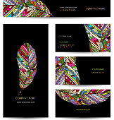 Business cards with colorful feather for your design. Vector illustration