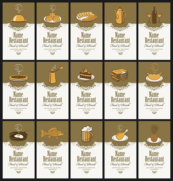 visitenkarten mit verschiedenen spezialitäten - pflaumenkuchen stock-grafiken, -clipart, -cartoons und -symbole