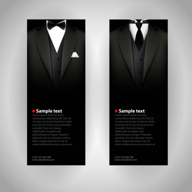 Business cards with elegant suit and tuxedo. Vector business cards with elegant suit and tuxedo. tuxedo stock illustrations