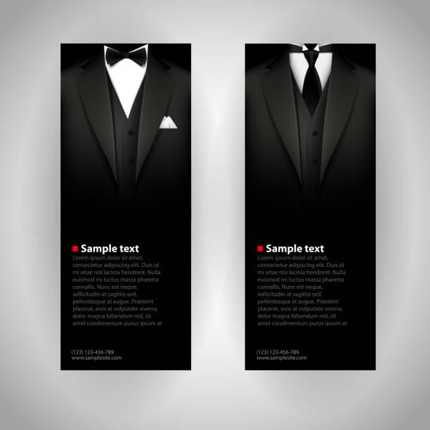 ilustrações de stock, clip art, desenhos animados e ícones de cartões de visita com elegante terno e smoking. - smoking