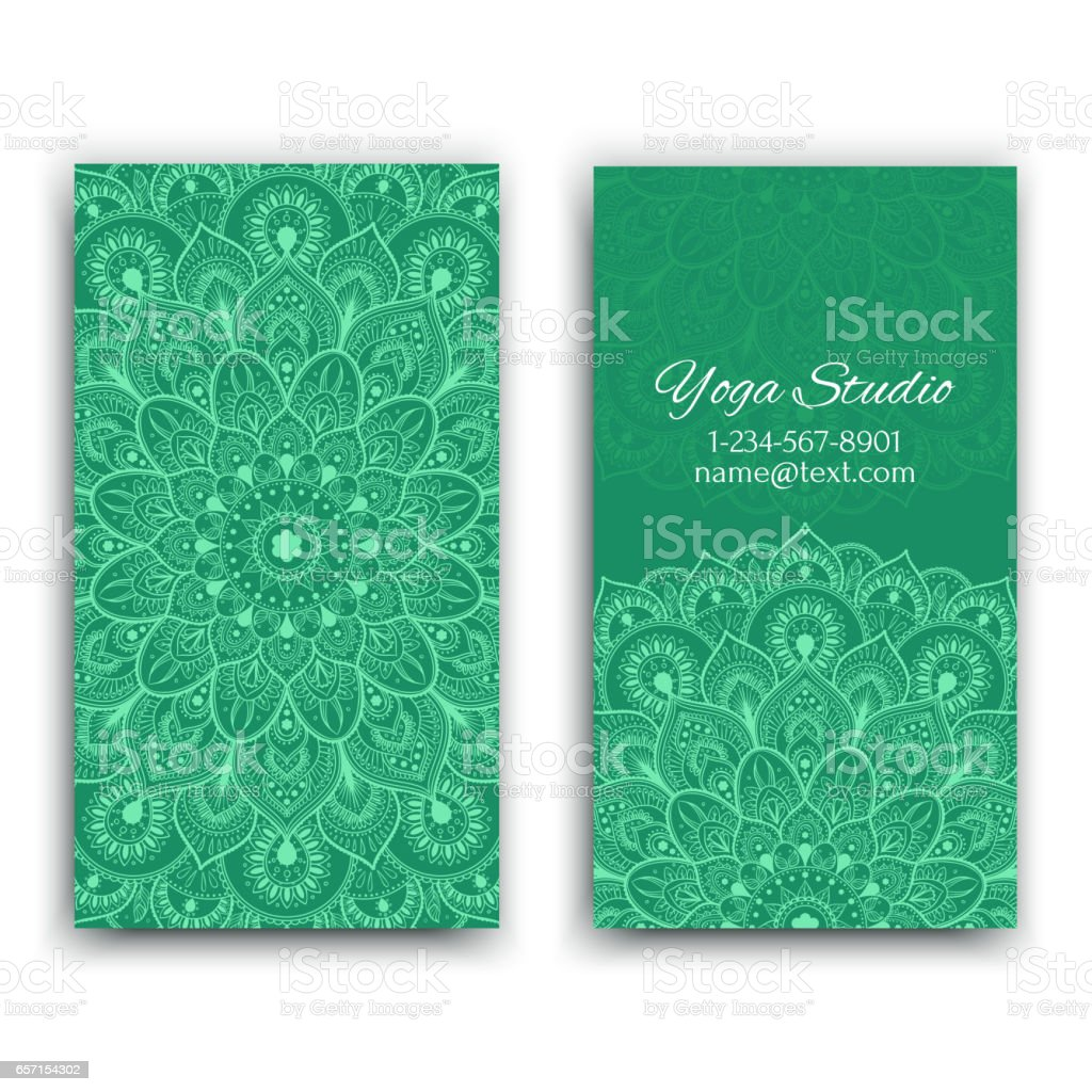 Business cards with ethnic pattern vector art illustration