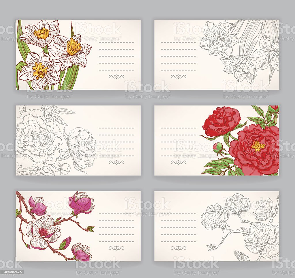 Business Cards With Flowers Stock Vector Art & More Images of ...