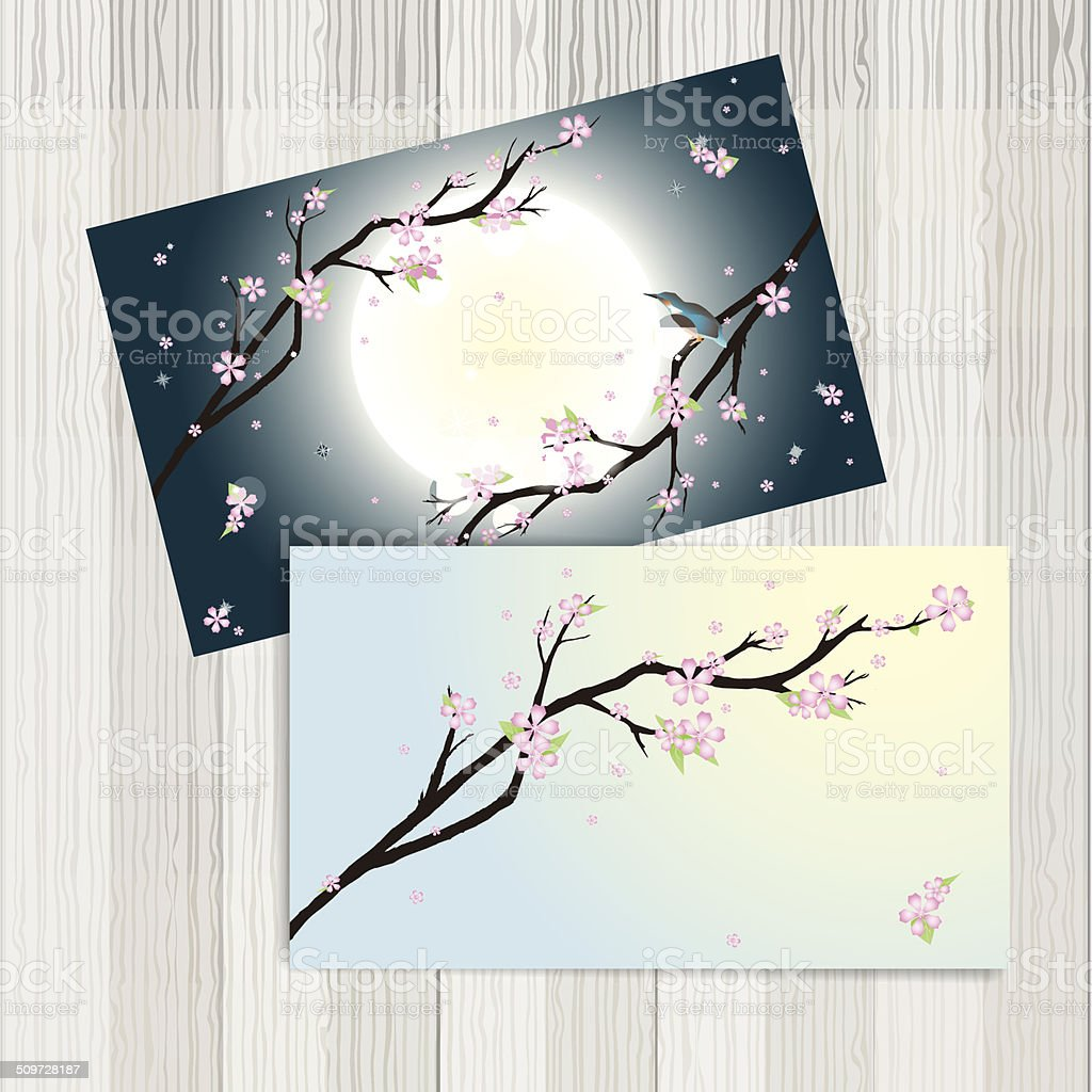 Business cards with stylized cherry blossom stock vector art more art product blossom cherry blossom flower moon business cards colourmoves