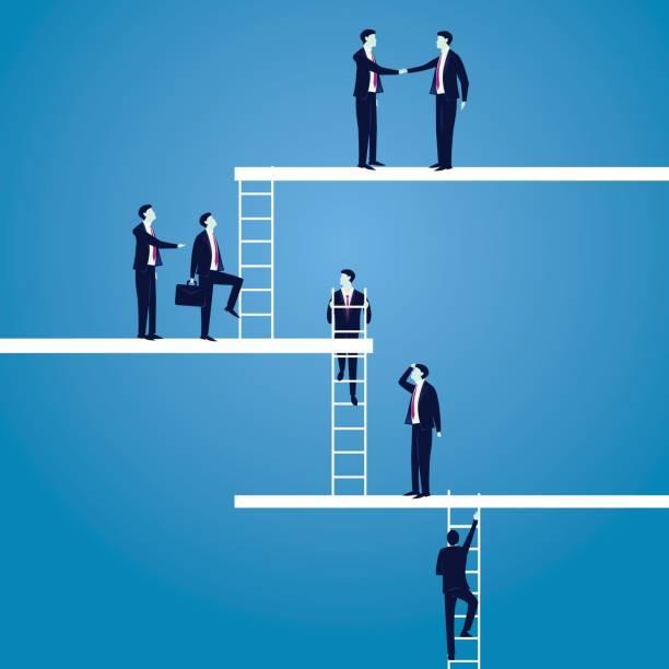 business career concept. businessmen lead to climb high ladder - stopnie do sukcesu stock illustrations