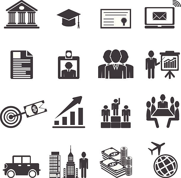 Business career icons. vector  illustrations EPS10 Business career icons. Vector illustration interview event stock illustrations