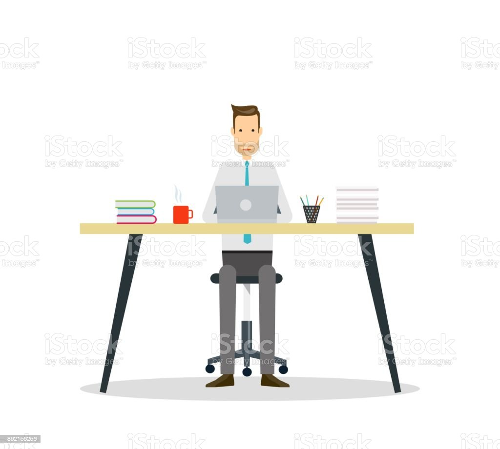 business cartoon character  . business man working concept vector art illustration