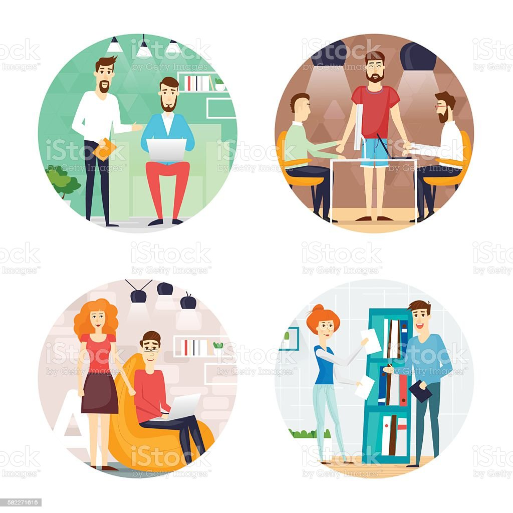 Business Cartoon Characters People Talking And Working At The