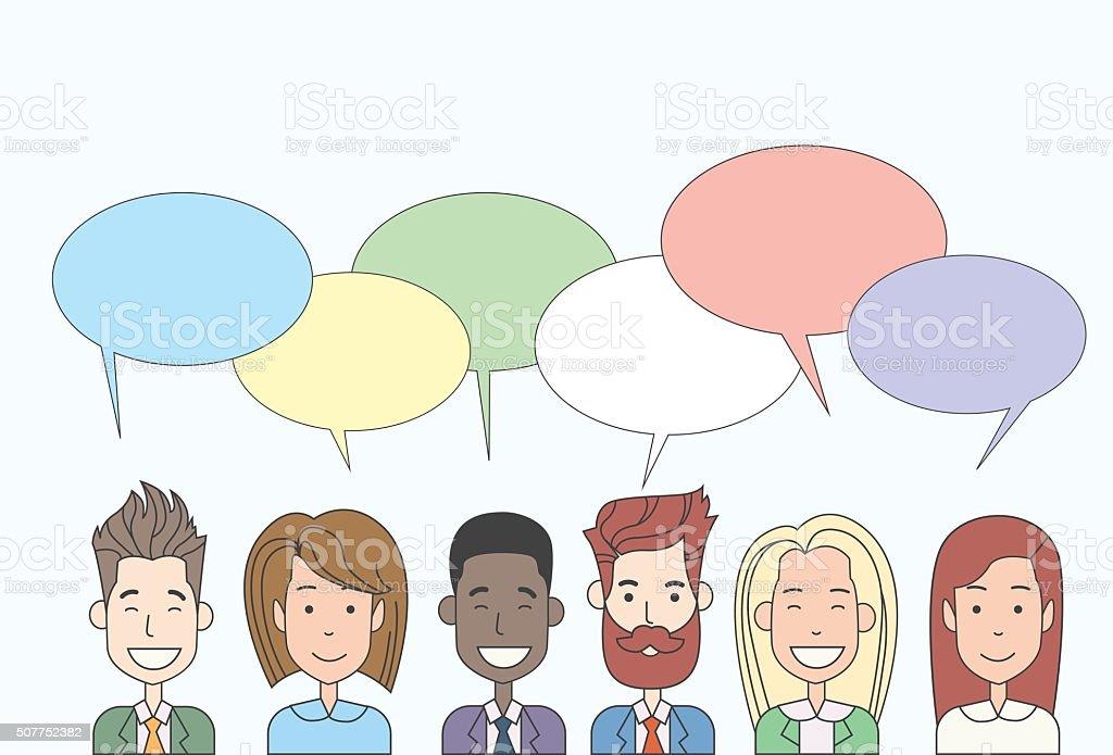 Grupo De Personas De Negocios De Dibujos Animados Hablando