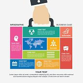 infographic, data, case, hand, jigsaw