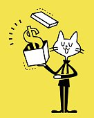 Vector illustration – Business Cat showing a gift box with money.