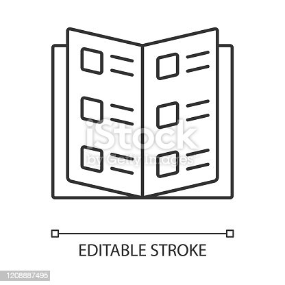 istock Business catalog, reference book linear icon. Catalogue, restaurant menu thin line illustration. School textbook contour symbol. Information booklet vector isolated outline drawing. Editable stroke 1208887495