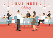 Business Catering Concept. Corporate Meeting Banquet Event. Professional Staff in Restaurant. Banquet Event Order. People and Restaurant Interior in Background. Vector Flat Illustration.