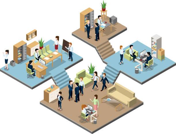 business center mit menschen bei der arbeit im büro. isometrische vektor-illustrationen - reisebüro stock-grafiken, -clipart, -cartoons und -symbole