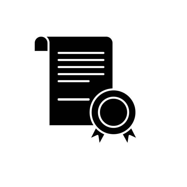 illustrations, cliparts, dessins animés et icônes de icône de certificat noir affaires, vecteur signe sur fond isolé. symbole de concept entreprise certificat, illustration - notaire