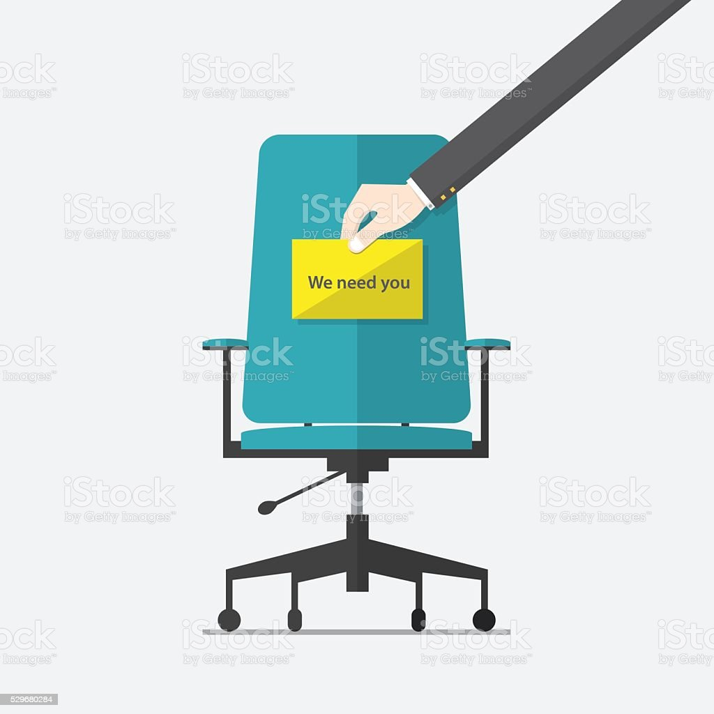 Business chair. Hand holding cardboard paper in flat design. vector art illustration