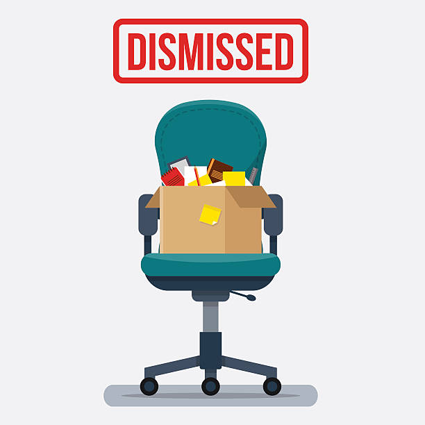 Business chair with box office things. Business chair with box with office things. Dismissed. Fired from job. Flat style vector illustration. rejection stock illustrations