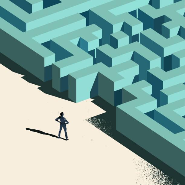 geschäftliche herausforderungen - labyrinthgarten stock-grafiken, -clipart, -cartoons und -symbole