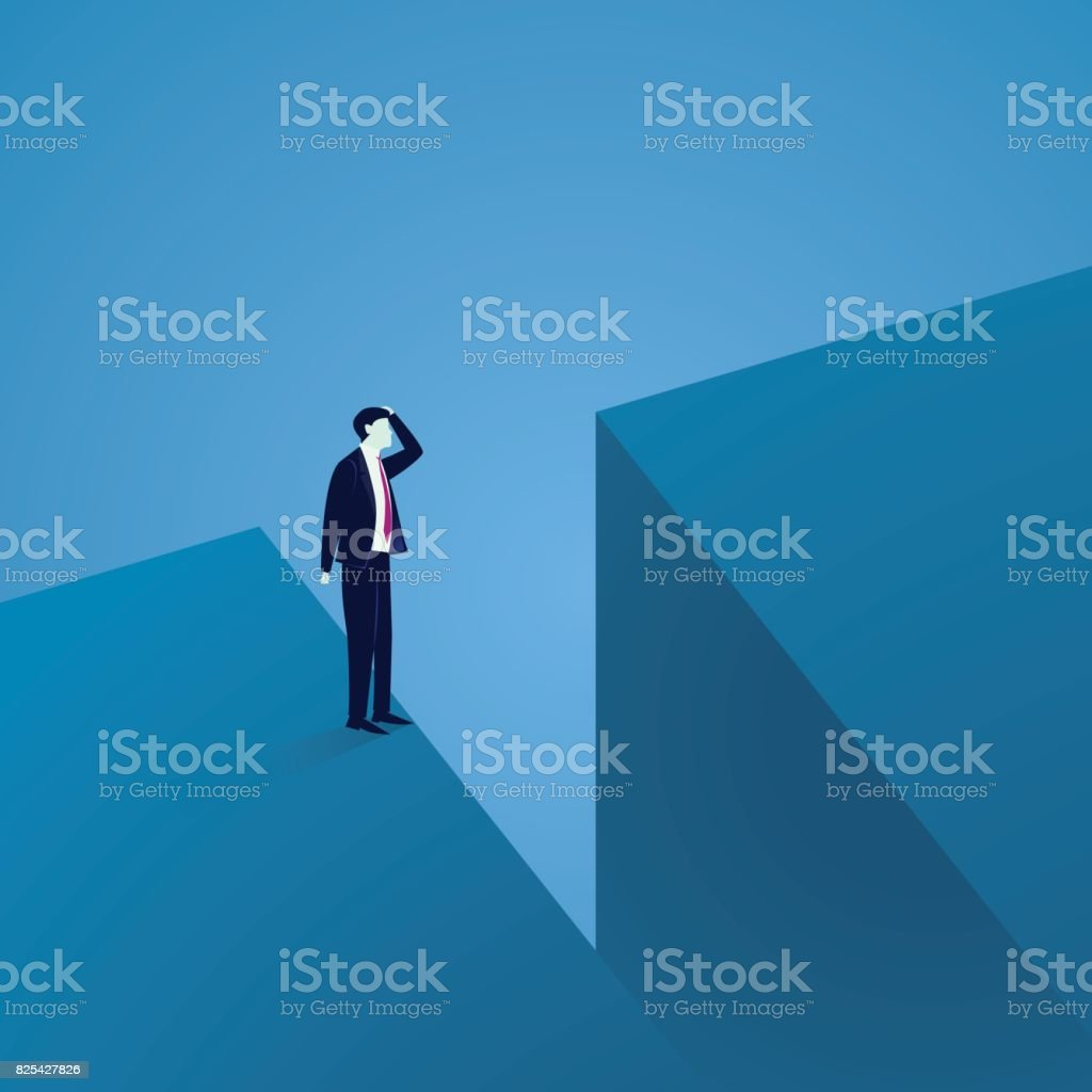Business Challenge Concept. Businessman Confuse at The Edge of a Gap royalty-free business challenge concept businessman confuse at the edge of a gap stock illustration - download image now