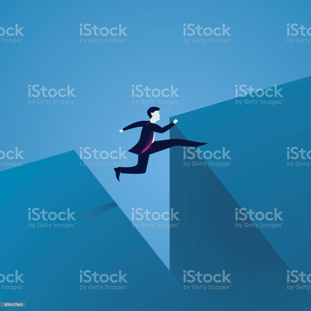 Business Challenge Concept. Businessman Jumping Over Gap vector art illustration