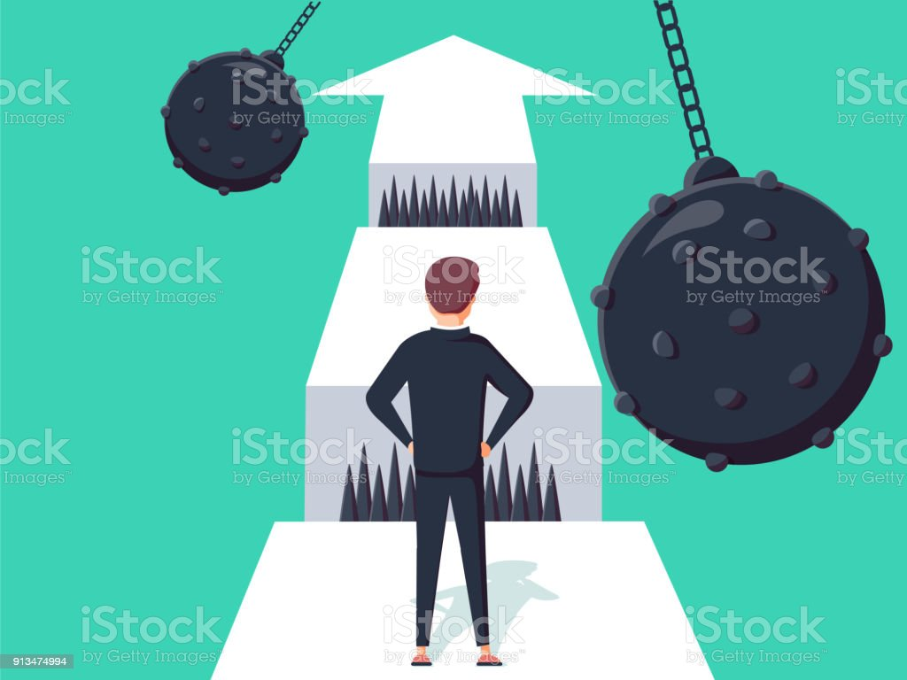 Business challenge concept with businessman walking towards gap. Symbol of success or opportunity overcoming, ambition vector art illustration